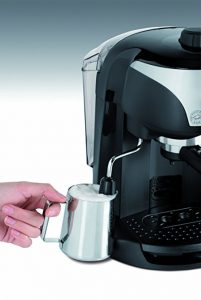 delonghi ec220cd frother in action