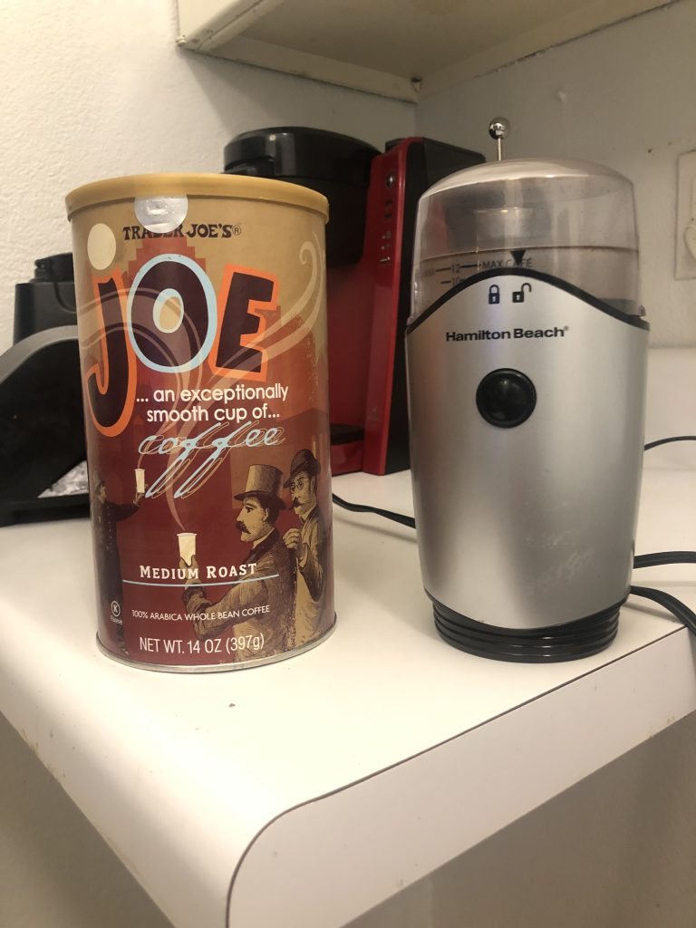 trader joe's medium roast and coffee grinder