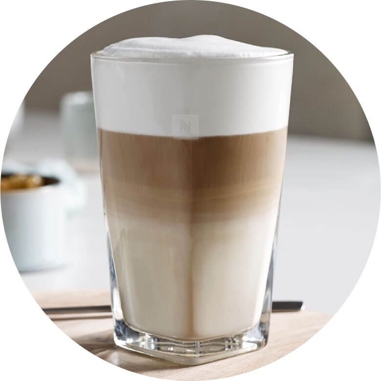 Latte Macchiato coffee circled