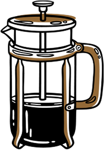 drawing of a french press