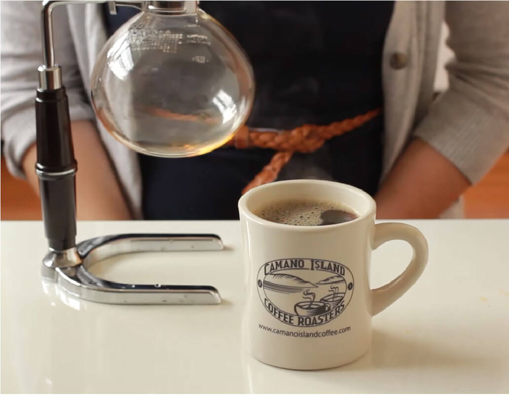 siphon brewed coffee in cup