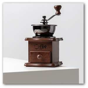 coffee beans grinder with white background