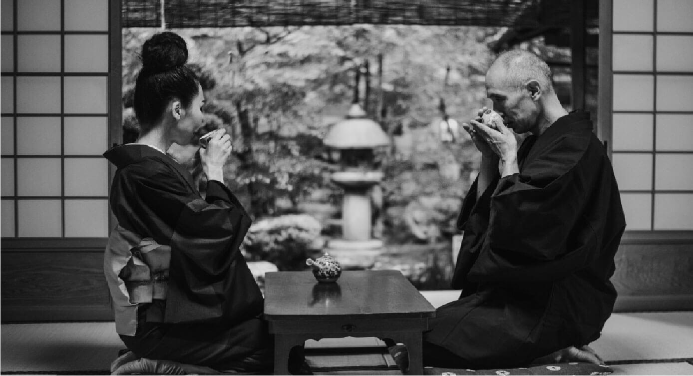 japanese couple drinking coffee