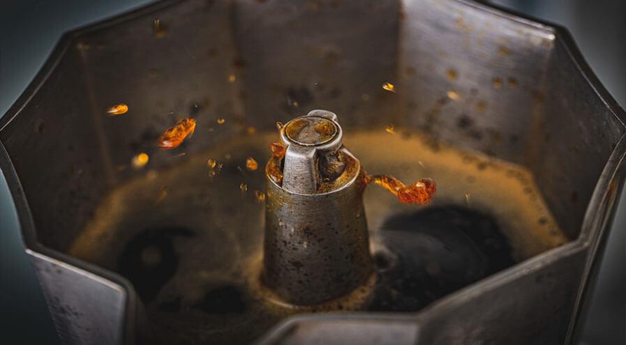 boiling coffee moka pot upper chamber