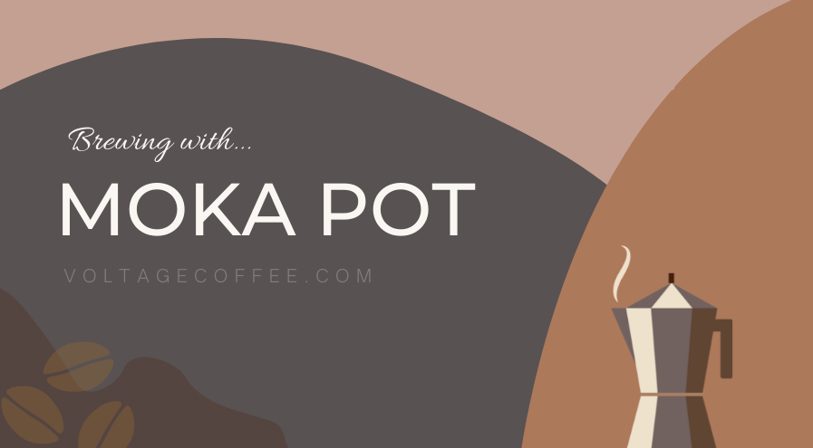moka pot and coffee beams with white text with brown background -featured-image