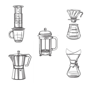 types of brewing coffee tools