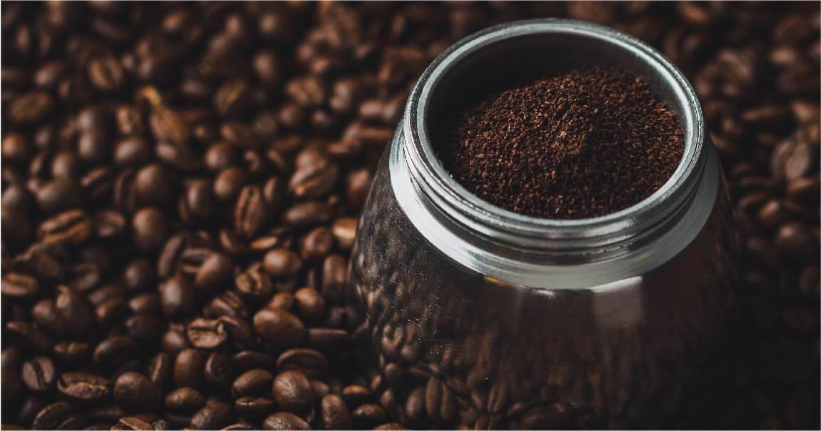 Arabica coffee ground beans