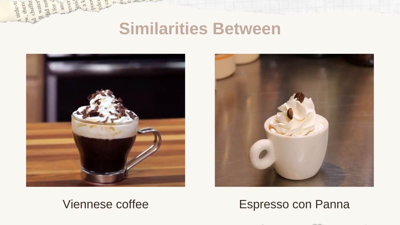 Viennese coffee and Espresso con Panna in different shapes