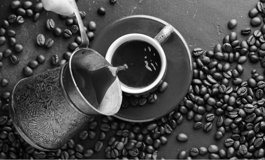 top view of coffee and beans
