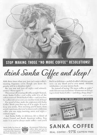 vintage ad for decaf coffee