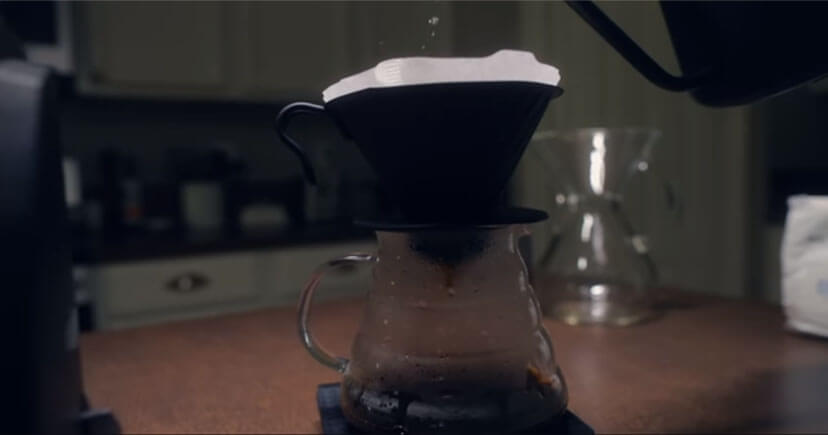 Pour-over coffee on table